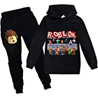 Baonmy Boys Roblox Jersey con capucha y pantalones, trajes de chándal Personajes de dibujos animados Suéter de algodón…