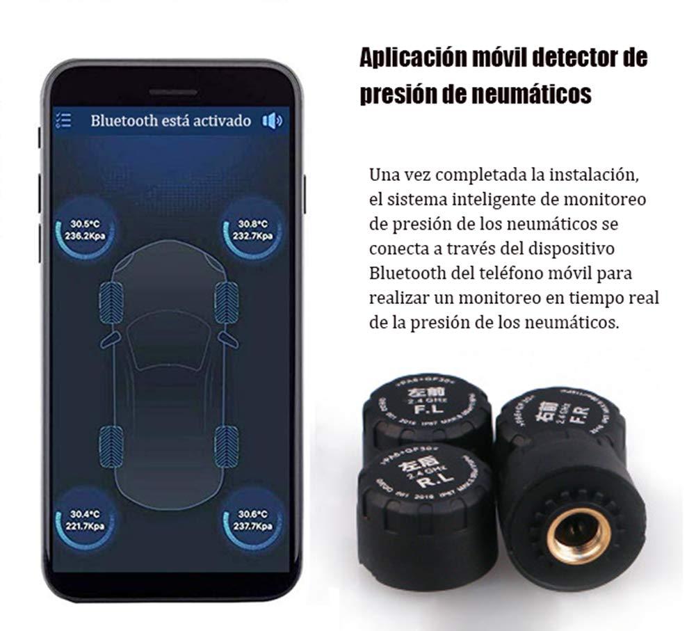 SODIAL Sistema de Monitoreo de Presi/ón de Neum/áticos de Coche Inal/ámbrico Tpms Universal Auto de Control de Sensores Externos para iOS Android Detecci/ón en Tiempo Real 4 Unids