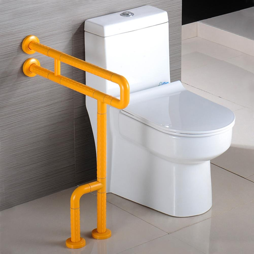 Bathroom Grab Bar Toilet Safety Frame Rail Shower Handicap Bars Medicial Bathroom Aids Armrest (Stainless Steel Covered with Yellow ABS) , D