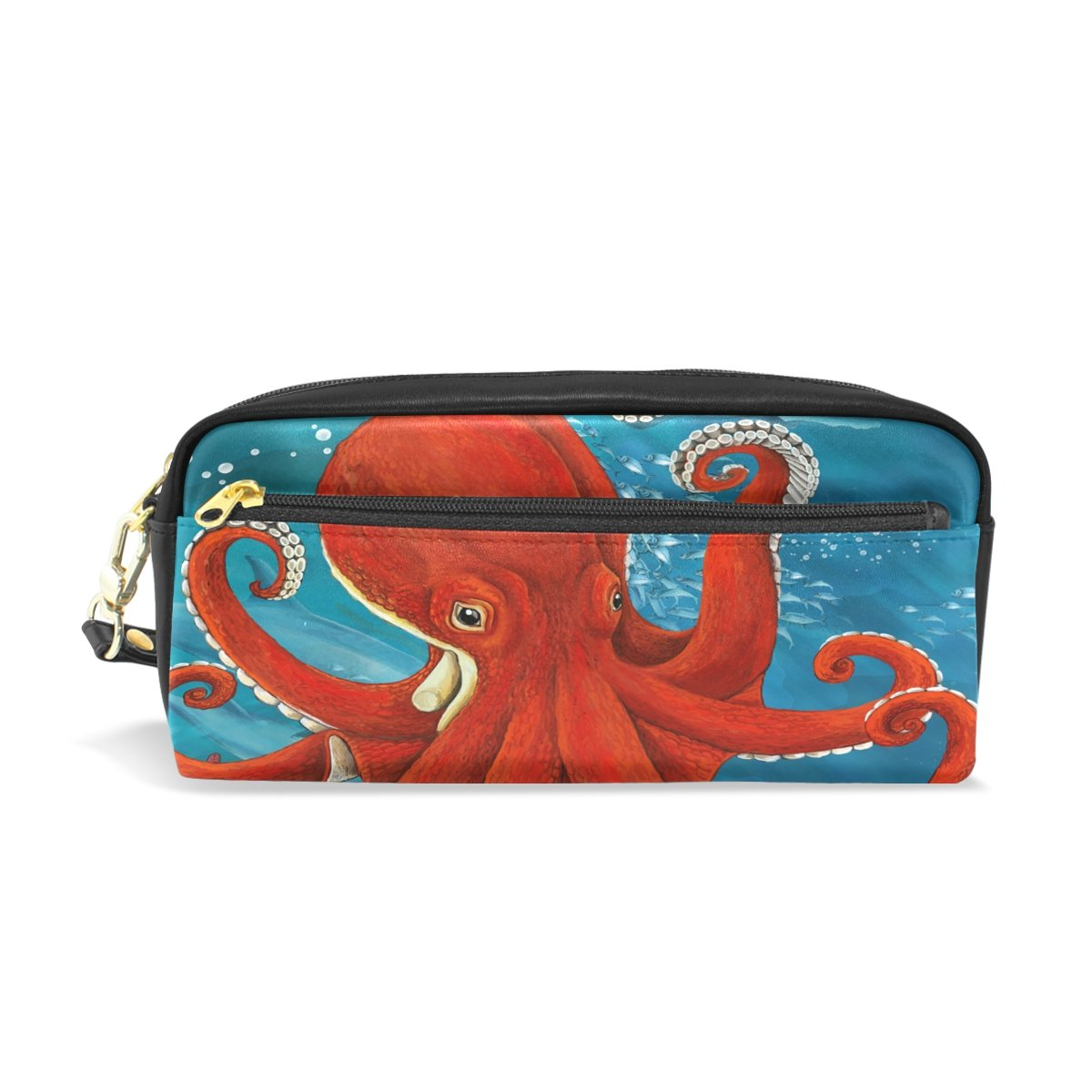 ShineSnow Red Octopus Student Pen Pencil Case, Sea Ocean Monster Animal Office Zipper Coin Storage Organizer Purse Pouch Women Cosmetic Makeup Bag
