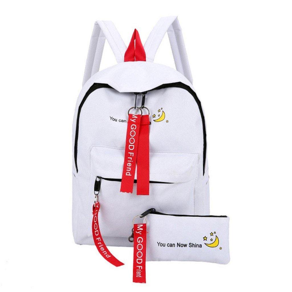 Creazrise Women Backpack,Girls Nylon Preppy Style Backpack Personality Zipper Decoration Backpack (White)