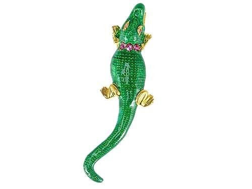 Alilang Emerald Green Cute Alligator Bumpy Back Colored Swarovski Amethyst  Crystal Pin Brooch