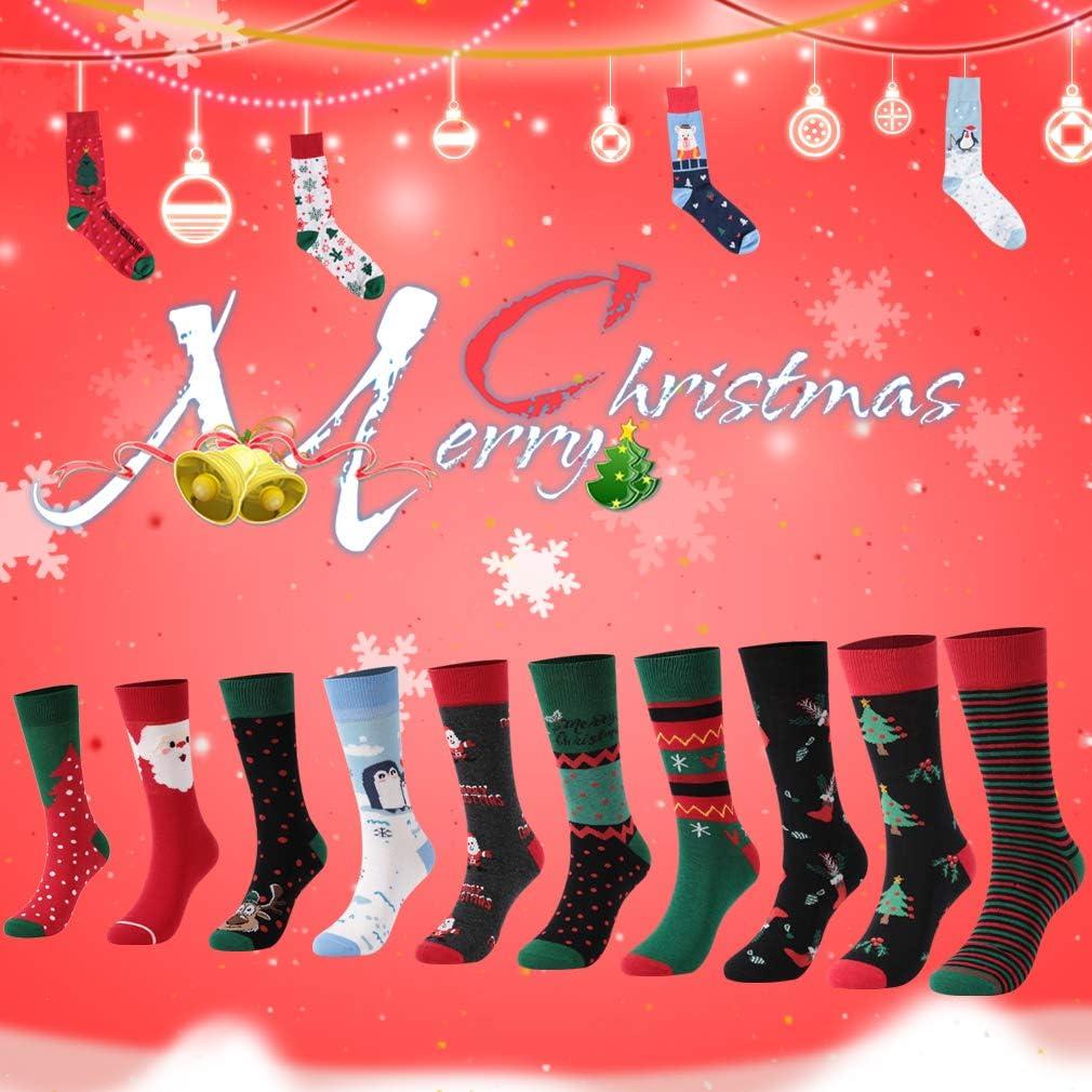 3//6 Pairs Crew Cartoon Socks HZIC Unisex Cute Novelty Cotton Athletic New Year Casual Socks