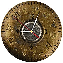 Handmade Solutions EU Military Non-ticking Vinyl Wall Clock Gift for Policeman and Soldier Golden Round Bullet