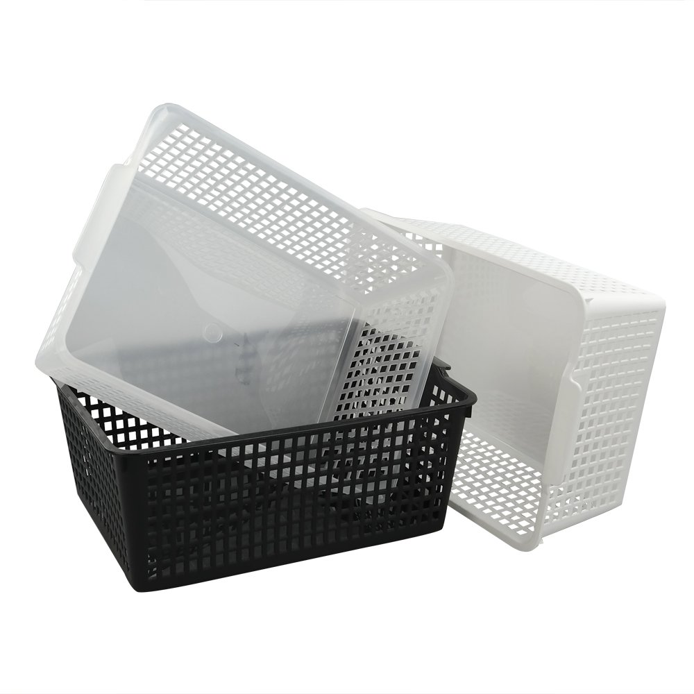 Kekow Large Ultra Basket Storage Organizers Bin, Perforated Design, 3-Pack, F