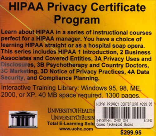 Hipaa Privacy Certificate Program by University Of Health Care