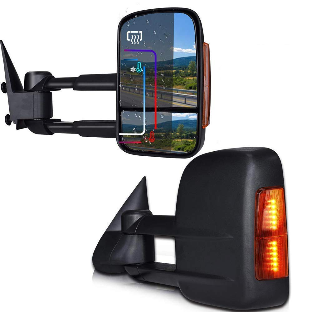 DOT Approved Towing Mirrors For 2003-2007 Chevy/GMC Silverado/Sierra Power Heated & Telescoping Turn Signal Sight Towing Mirror Spead-Vmall