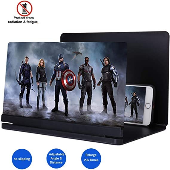 Color : Blue Handheld Magnifier 3D Mobile Phone Screen Magnifying Glass 8 inch Foldable Mobile Phone Holder Hd Movie Video Bracket for All Smartphones,Red,Red Multipurpose Personal Magnifier