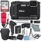 Nikon COOLPIX W300 Digital Camera (Black) w/ WiFi and Adventure Bundle with 16GB + Case + Deluxe Starters Kit + Floating Strap + FiberTique Cleaning Cloth + More