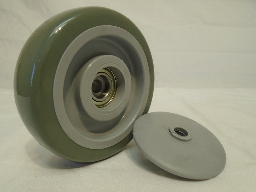 4'' X 1-1/4'' Swivel Caster Gray Polyurethane Wheel with Brake 400 Lbs Each (2) and Rigid(2) Tool Box by Creative Industrial Sales (Image #7)