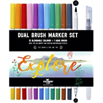 Stationery Island Brush Pen Doble de 12 Colores Esenciales + 1 Pincel Aqua - Rotuladores Pincel Acuarelables con Puntas Flexibles y Finas. Para Caligrafía, Bullet Journal, Tarjetas y Colorear: Amazon.es: Oficina y papelería