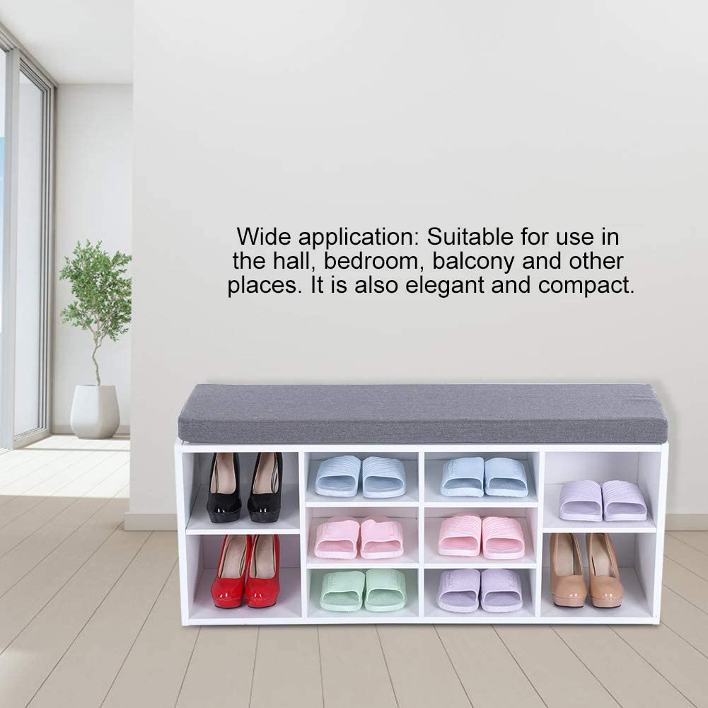 Zoternen Banc /à Chaussures Range-Chaussures Armoire Meuble de Rangement pour Chaussure Blanc 104x30x45cm Multifonctionnel avec Coussin pour Entr/ée Salon Chambre