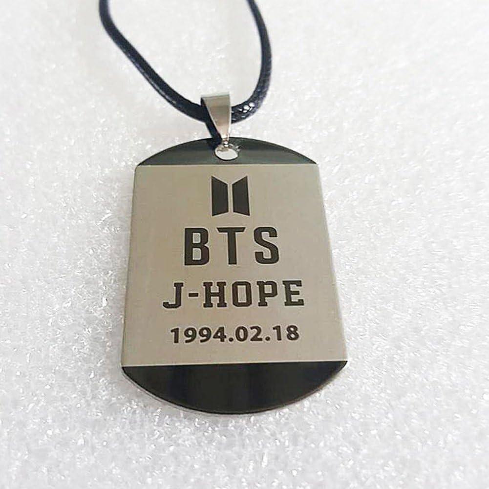 Jungkook Bestomrogh Kpop BTS Collier de Lettre de Nom de Membre Unisexe Populaire Version Cor/éenne Collier Pendentif en Corde en Cuir