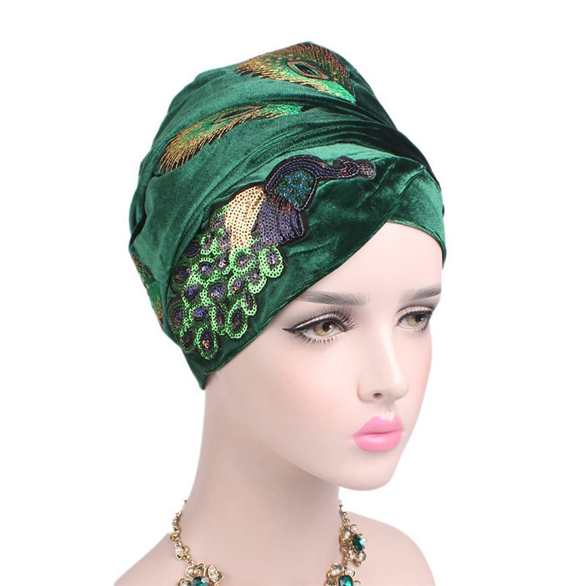 1920s Style Hats RARITYUS Womens Turban Hat Chemo Cap Velvet Peacock Headwear Sequins Muslim Headwrap Scarf Green $18.99 AT vintagedancer.com