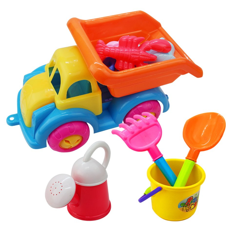 Fajiabao Beach Sand Toys Set with Cars, Watering can, Shovels, Bucket and Sand Molds 9 Pieces, for All Ages Children, Kids, Boys, Girls, Toddlers in Beaches, sand boxes, sand pools, parks