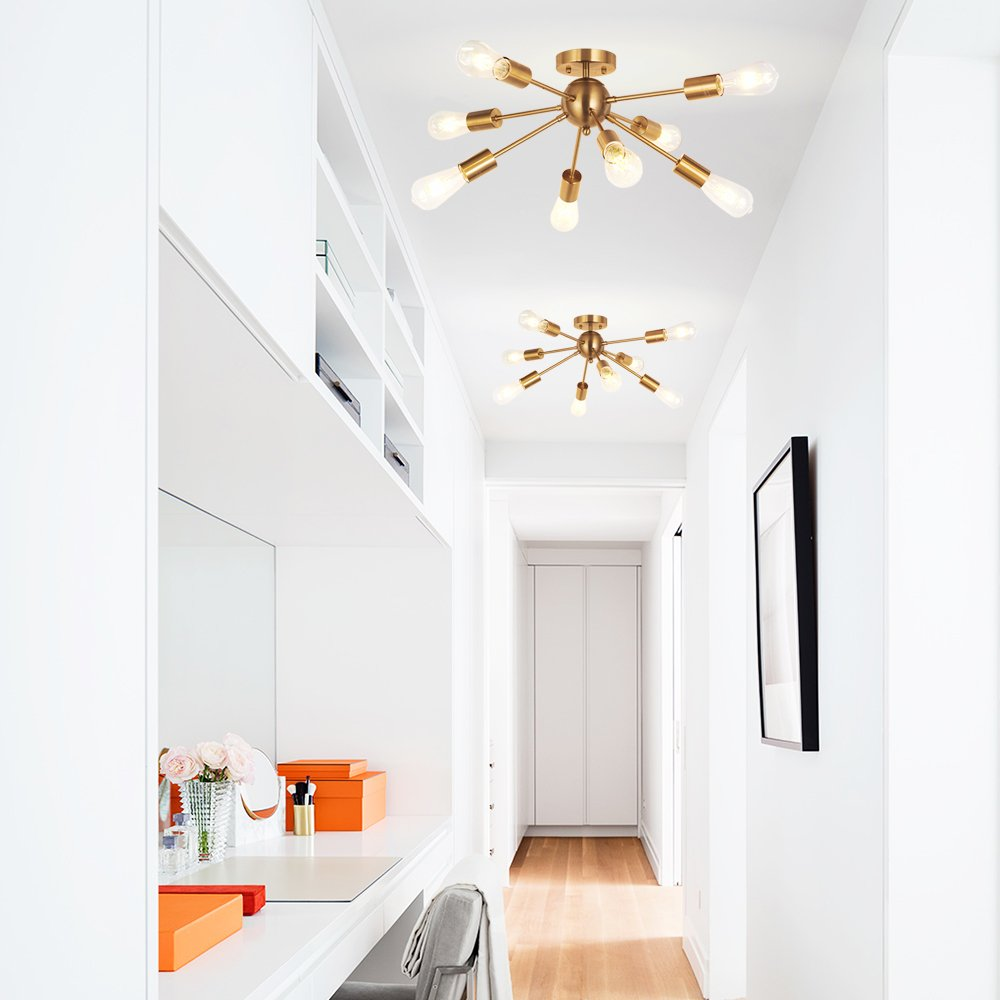 MELUCEE 8-Light Modern Sputnik Chandelier Brushed Brass Semi Flush Mount Ceiling Light Industrial Pendant Lighting Fixtures for Dining Room Bedroom Kitchen Living Room and Hallway by MELUCEE (Image #4)