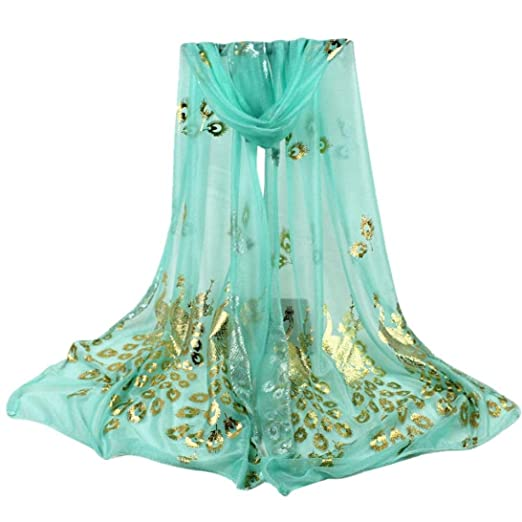 iHPH7 Women Multi-Color Peacock Flower Long Soft Shawl Lightweight Pashmina