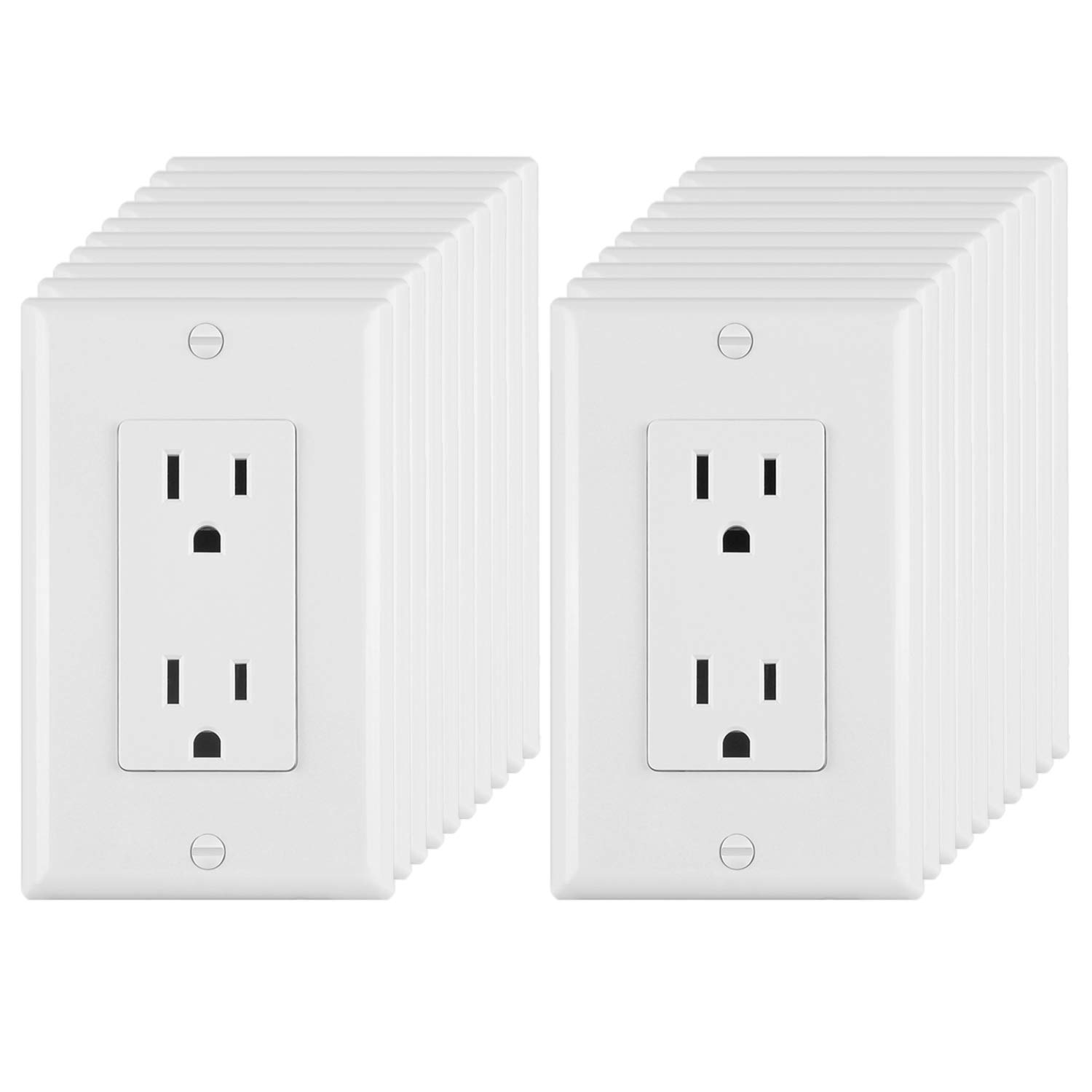 [20 Pack] BESTTEN 15A/125V Decorator Outlets, Electrical Duplex Receptacles, Non-Tamper-Resistant, Decor Wall Plates Included, Residential & Commercial Grade, UL Listed, White by BESTTEN
