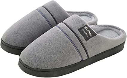 Comfy Slippers Cotton Shoes Soft Solid Anti-slip Men's Winter Slip on Stylish