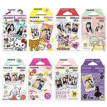 Fujifilm Instax Mini Film 8 Pack Bundle Hello kitty, Disney Mickey, Pooh, RiLakkuma, Little Twin Stars, Candy Pop, Shiny Star, Disney Alice and withC Microfiber Cleaning Cloth + Stickers 40 pcs.