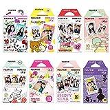 Fujifilm Instax Mini Film 8 Pack Bundle Hello kitty, Disney Mickey, Pooh, RiLakkuma, Little Twin Stars, Candy Pop, Shiny Star, Disney Alice and+ Stickers 40 pcs.