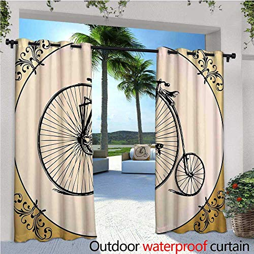 - cobeDecor Bicycle Indoor/Outdoor Single Panel Print Window Curtain Retro Big and Small Tired Bicycle on A Vintage Round Framed Floral Background Boho Silver Grommet Top Drape W108 x L108 Tan Cream