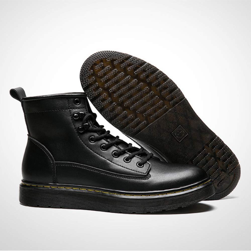 Hombres Botines De De De Cuero Genuino Punta Redonda con Cordones Martin Botas Calentamiento De Invierno Botas Cortas Militares Zapatos a71aee