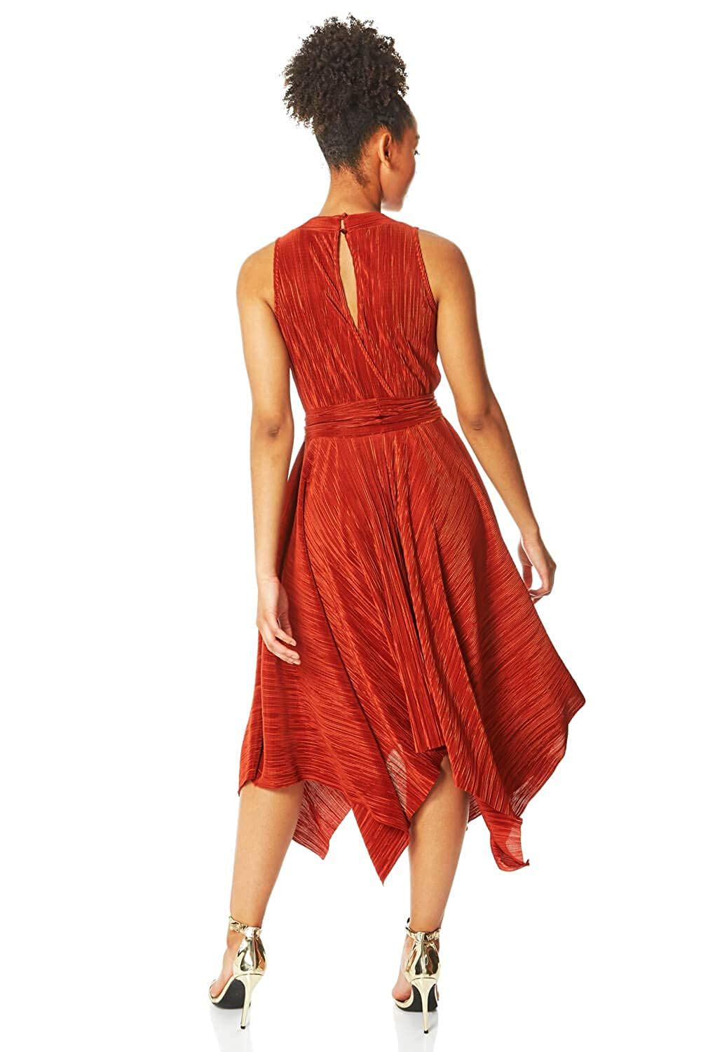 Ladies Special Occasion Shimmer Christmas Party Pleated Keyhole Back Sleeveless Asymmetrical Hem Fit and Flare Dresses Roman Originals Women Plisse Hanky Hem Midi Dress