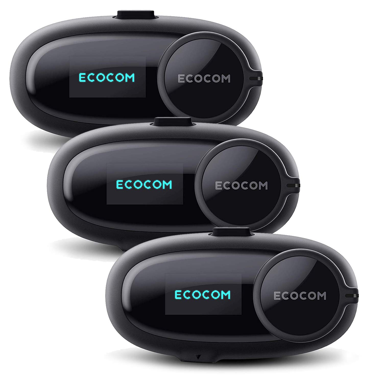 EcoCom Motorcycle Helmet Bluetooth Intercom Communication System Headset (Talk Time 8hrs/Jog Dial/1Km Intercom Range/Noise Control/Crystal Clear Sound/FM Radio/Voice Prom) - 3 Pack