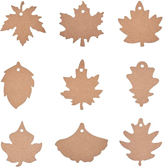 Leaf Gift Tags,180PCS 9 Styles Thanksgiving Favor Tags Thank You Gift Tags Kraft Paper Tags with Natural Jute Twine Perfect for Fall Thanksgiving Party
