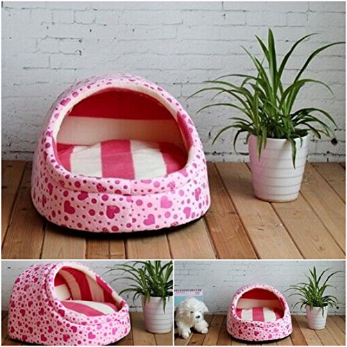 1 Pcs Apogee Popular Pet Half Covered Bed Size M Dog Furniture Puppy Tent Portable Couch Color Type Pink
