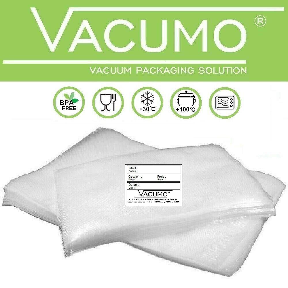 100 Beschriftungsetiketten Strukturbeutel 30 x 40 cm f/ür alle Vakuumierer 100 VACUMO Vakuumbeutel