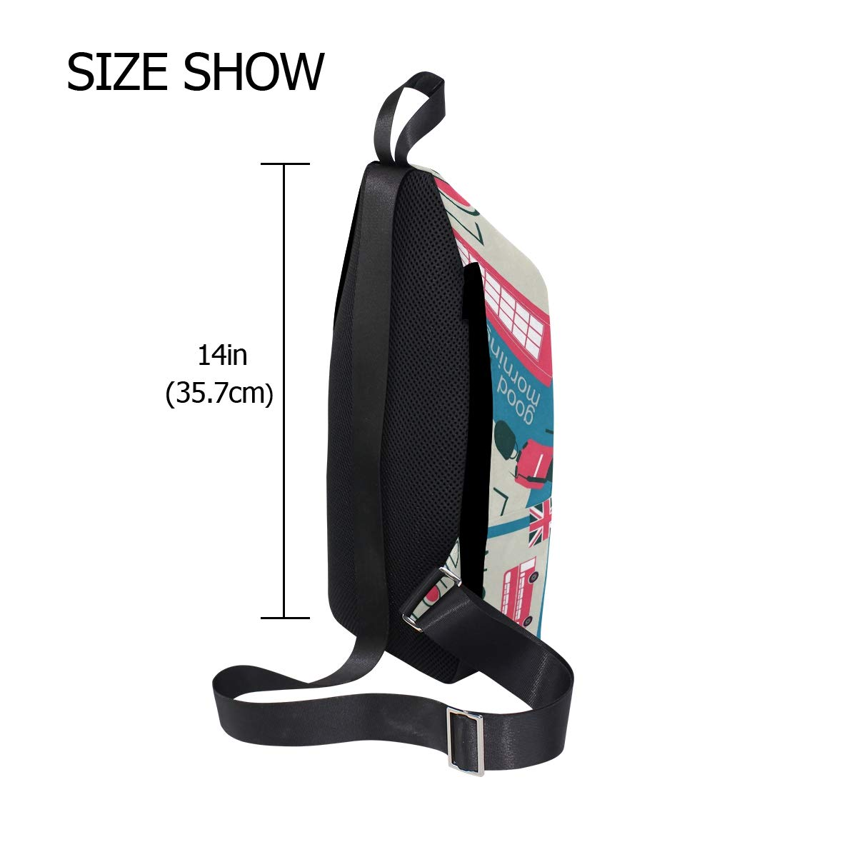 TFONE England London Theme Crossbody Bag Lightweight Chest Shoulder Messenger Pack Backpack Sling Bag