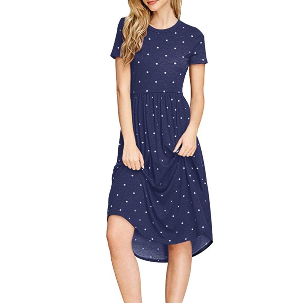Womens Autumn Daily Casual Dot Wave Point Printing Fashion Short Sleeve Mini Dress (s, Navy)
