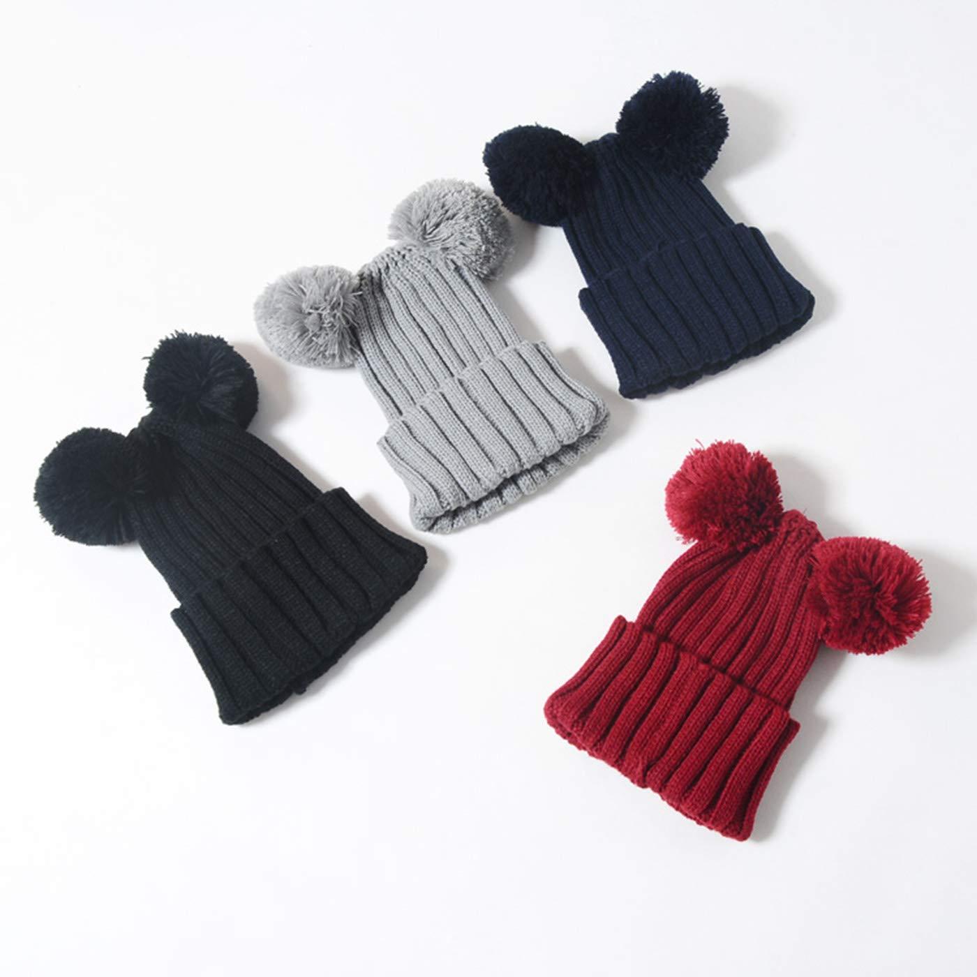 QOCAOFIG Baby Boys Girls Knitted Stretchy Pom Pom Beanie Hat,Winter Warm Knitting Handmade Beanie Caps