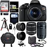 Canon EOS Rebel T6i Digital SLR EF-S 18-55mm IS STM Lens + EF-S 55-250mm + 58mm .43x Wide Angle & 2.2X Lenses + 64GB Memory Card + Tripods + 58mm Filters + Accessory Kit