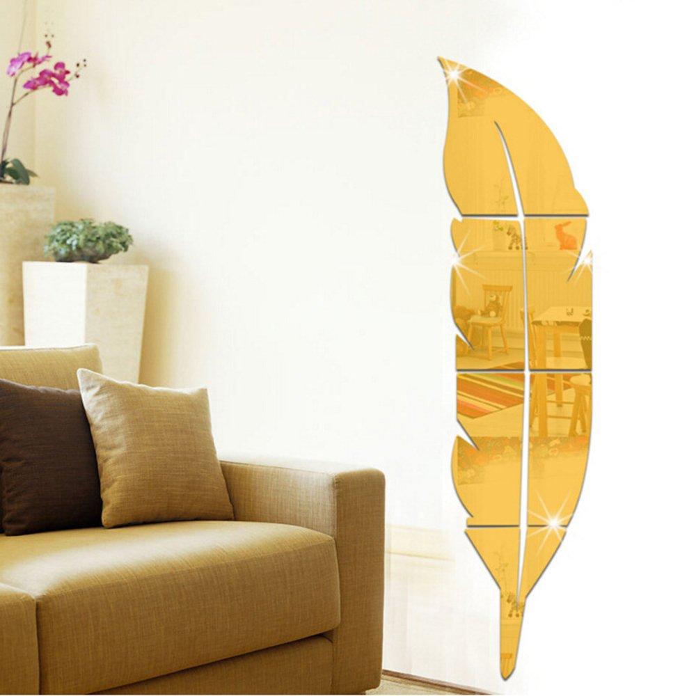 Amazon.com: Walmeck DIY 3D Removable Adhesive Feather Mirror Wall ...