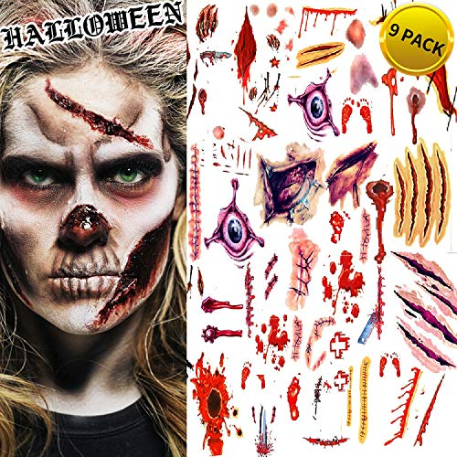 Halloween Tattoos, Scar Wound Temporary Tattoo, 9 Pack