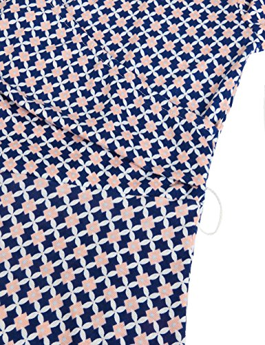 MOOSUNGEEK Plus Size Dresses For Women, Office Ladies Business Career Work Style Solid & Printed Surplice A-Line Wrap Dress Blue Apricot Flower XXL