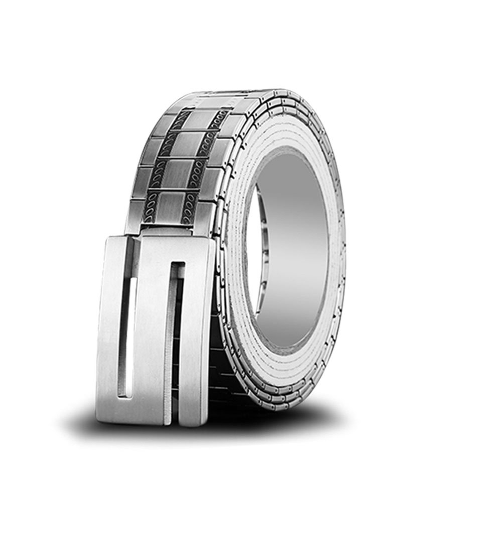 W/&P Pure stainless steel belt self-defense weapons of non-mainstream ideas leisure man lap Double round silver buckle