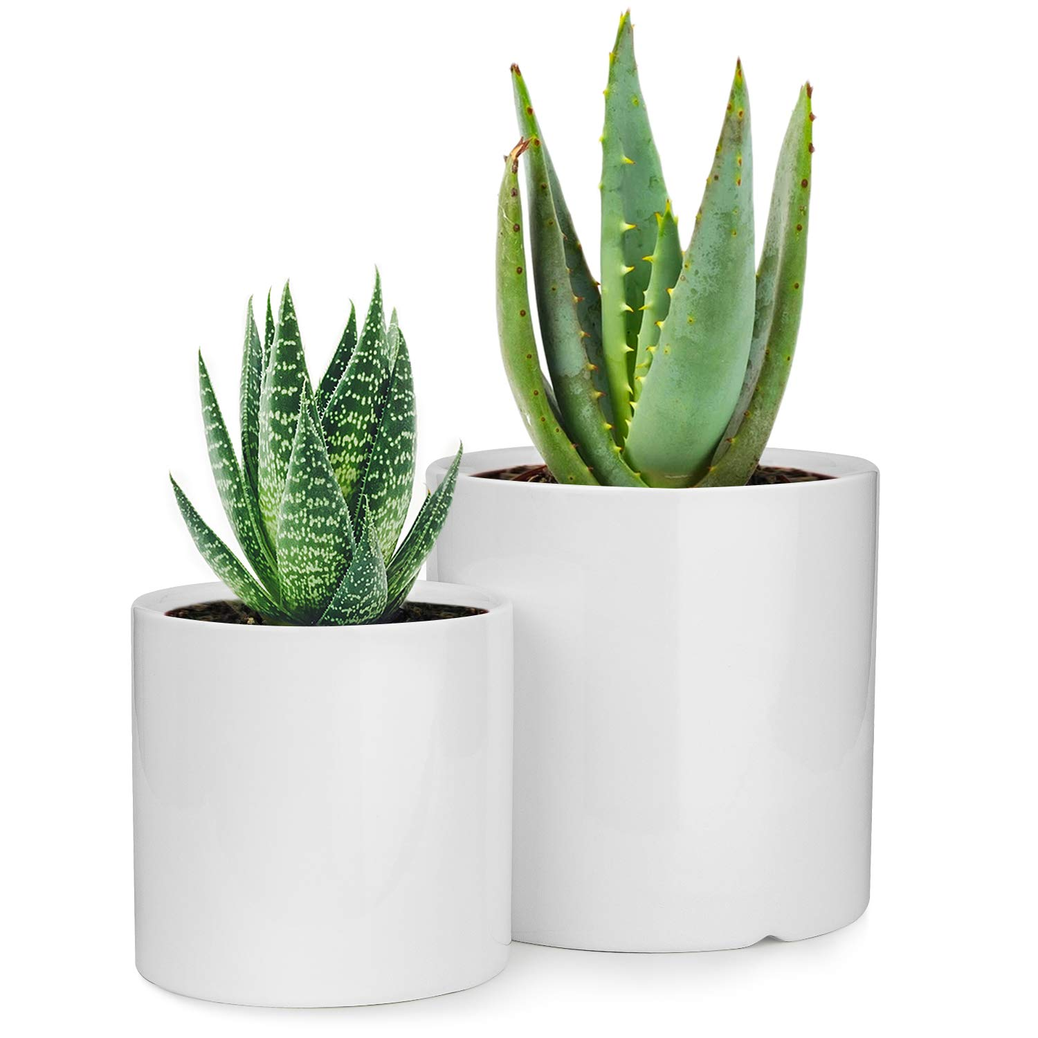 Planters 5.2 4.3 Inch Indoor Set of 2 White Plant Pots Modern Round Flower pots for House Plants, Succulents, Flowers,Herbs