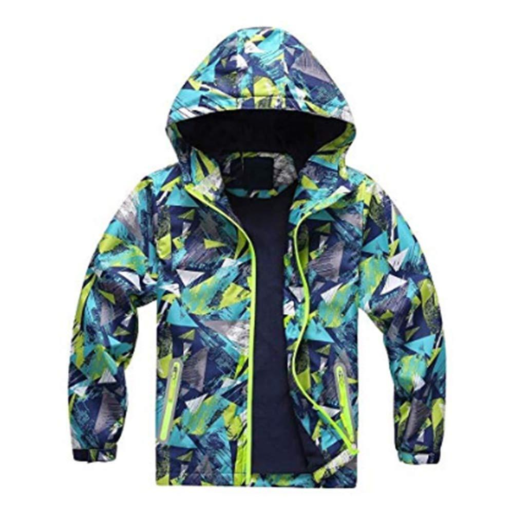 Digirlsor Kids Boys Girls Outerwear Waterproof Jacket Warm Fleece Hooded Coat Windbreaker Lightweight