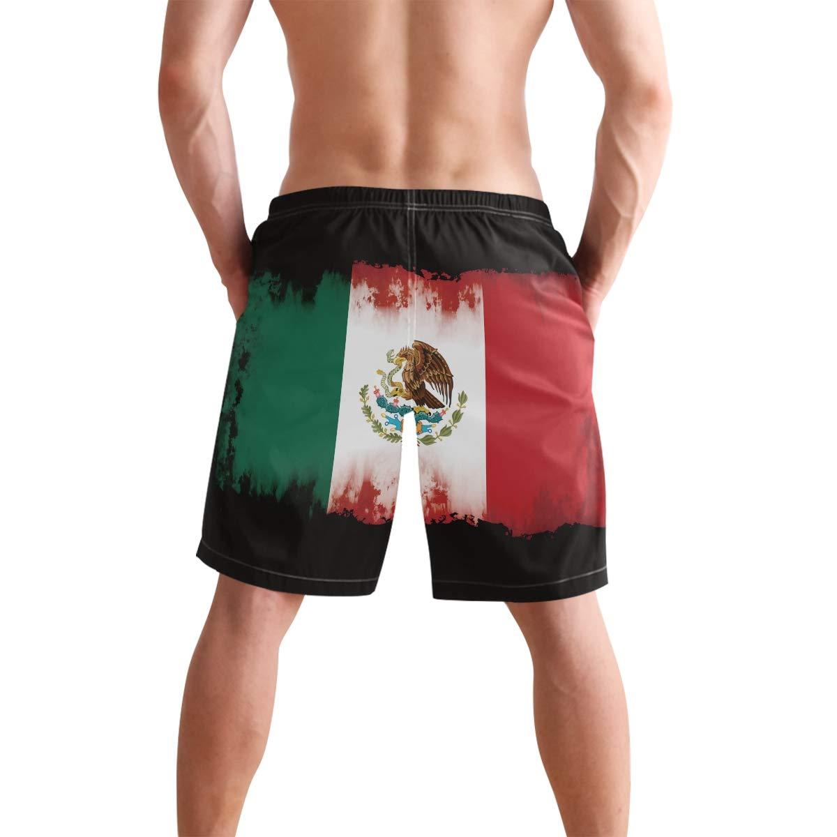 DongDongQiang Men Summer Mexician Flag Grunge Quick Dry Volleyball Beach Shorts Board Shorts