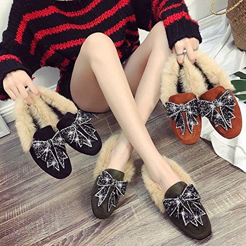 Pu Piel Pelo la Cuadrada de Profundo de de de Fondo Sola verde Proa Zapatos Plano EUR35 Bow Cabeza Mujer Diamante qnaYx6tpwI