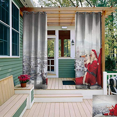 leinuoyi Christmas, Outdoor Curtain Grommet, Santa Claus Sitting on Roof Top Looking Through Binoculars Cloudy Cityscape, Fabric by The Yard W108 x L108 Inch Red Pale Grey
