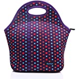 Cosfashネオプレンランチハンドバッグ再利用可能男性女性大人子供幼児看護婦用ランチボックスパープル