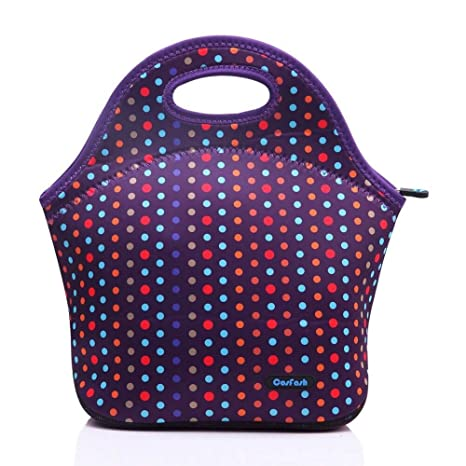 6aba0317f818 Cosfash Neoprene Lunch Tote Insulated Reusable Picnic Lunch Bags Boxes for  Men Children Kid Women Adults Nurses (Purple)