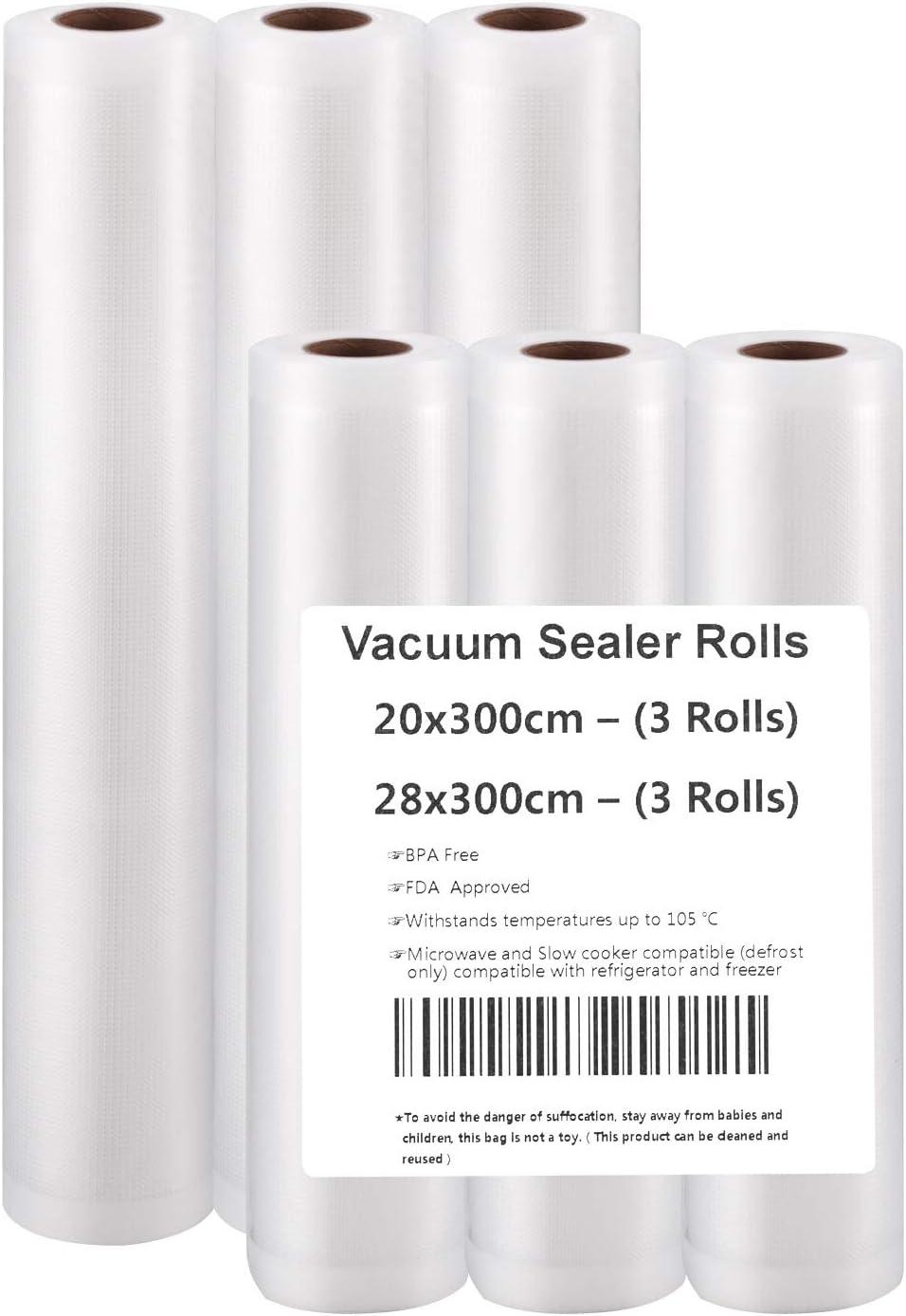 Vacuum Sealer Rolls(3m) (20x300(3 rolls)+28x300(3 rolls)): Amazon ...