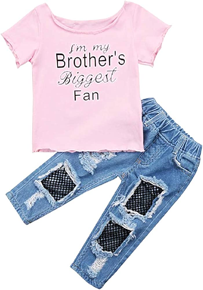 Strappati Inception Pro Infinite Maglia Completino Bimbe Completo Idea Regalo Originale T-Shirt e Jeans Pantaloni Rete Rosa Leggins Bambine Im My Brothers Biggest Fan
