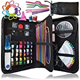 Sewing kit & Crochet kit, DIY Over 100 Premium Sewing and Crocheting Supplies, Free Extra Knitting Accessories - Travel Sewing kit, for Beginners, Emergency, Kids, Summer Campers and Home